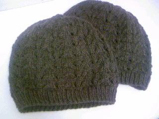 すかし編みのニット帽