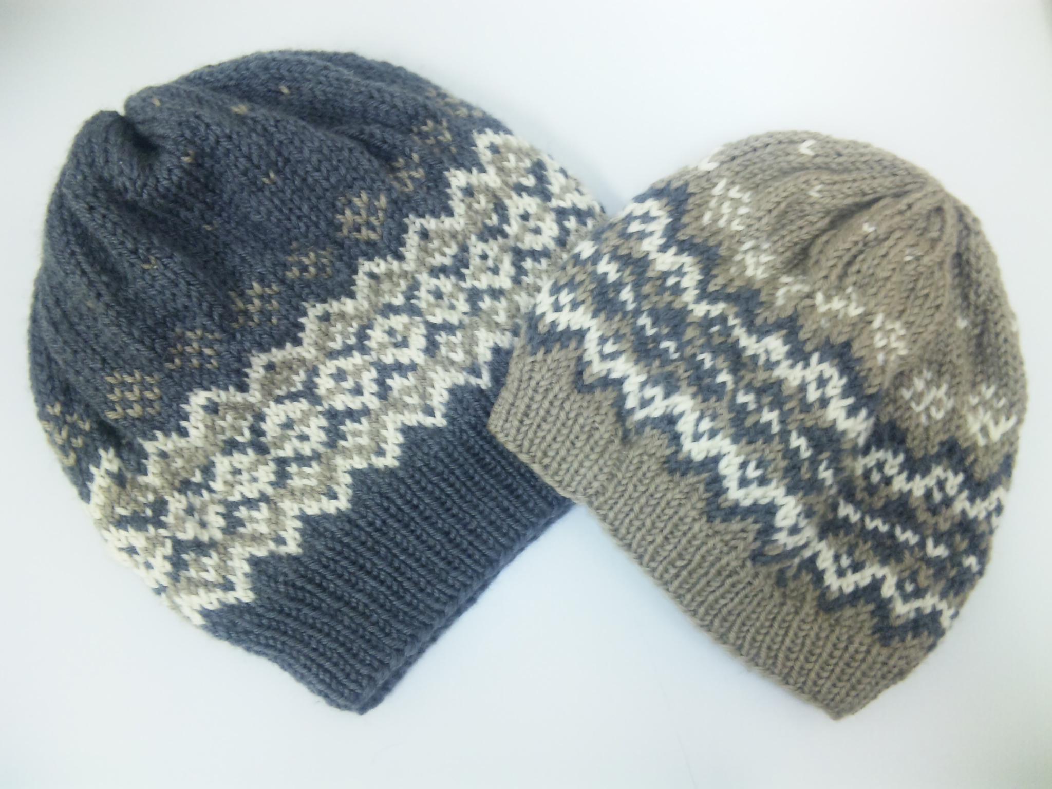 模様編みのニット帽