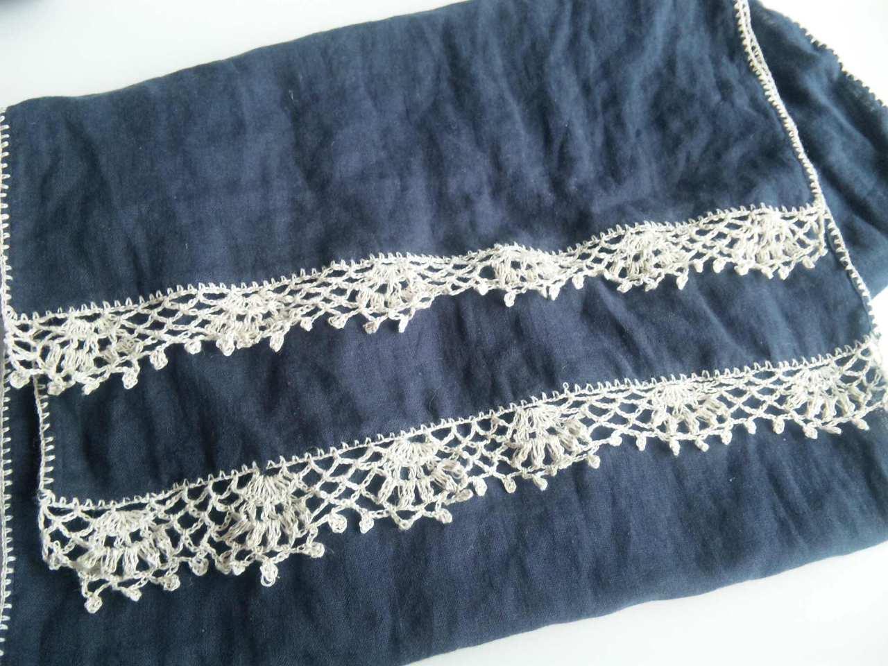ダブルガーゼのふち編みストール